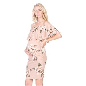 my bump Dresses - Women's Ruffle Off-Shoulder Maternity Dress W/Side